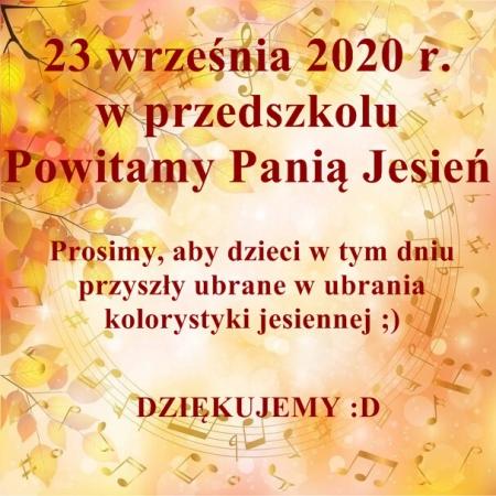 Powitanie Pani Jesieni- 23.09.2020 r.