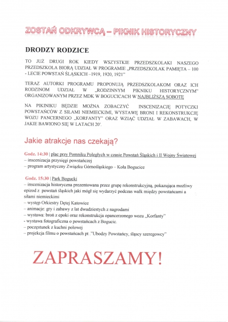 ZOSTAŃ ODKRYWCĄ – PIKNIK HISTORYCZNY - 17.10.2020 r.