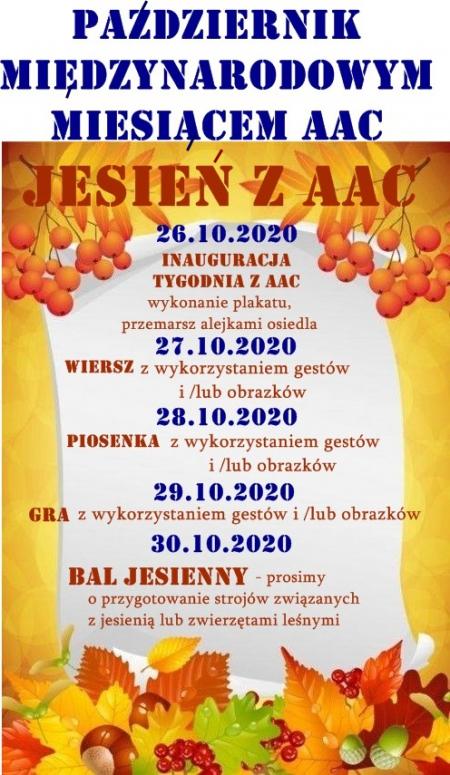 Październik miesiącem AAC- JESIEŃ Z AAC - 26.10-30.10.2020 R.