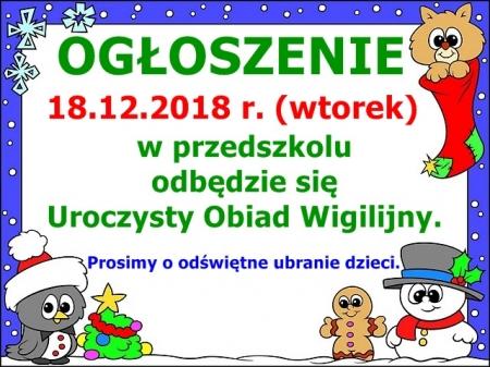 Uroczysty Obiad Wigilijny- 18.12.2018