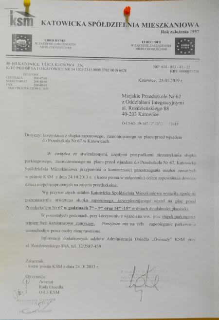 Informacja nt. słupka zaporowego
