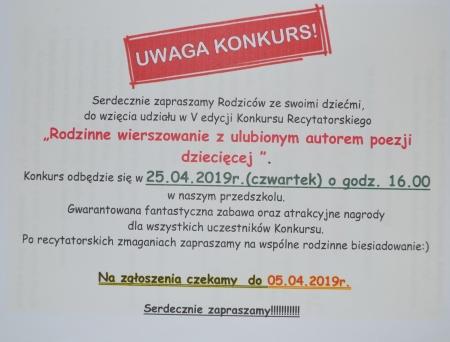 Konkurs recytatorski- Rodzinne wierszowanie - 25.04.2019