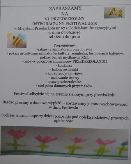 VI Przedszkolny Integracyjny Festiwal 2019