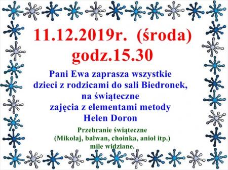 Pani Ewa zaprasza- 11.12.2019 r.