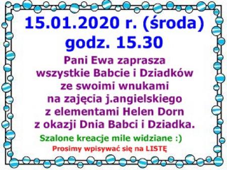 Zajęcia z j.angielskiego z okazji Dnia Babci i Dziadka - 15.01.2020 r.