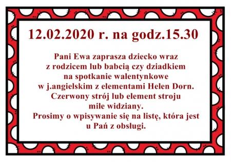 Pani Ewa zaprasza- 12.02.2020 r.
