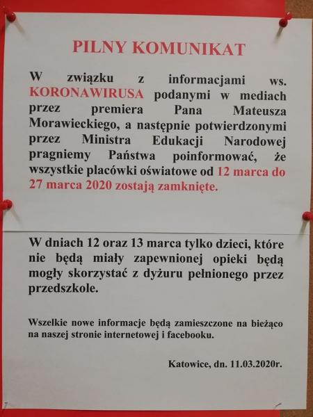 WAŻNY KOMUNIKAT!!!!- Przedszkole ZAMKNIĘTE od 12-25.03.2020 r.