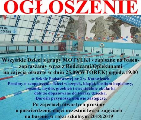 Zajęcia na basenie dla dzieci z grupy Motylki
