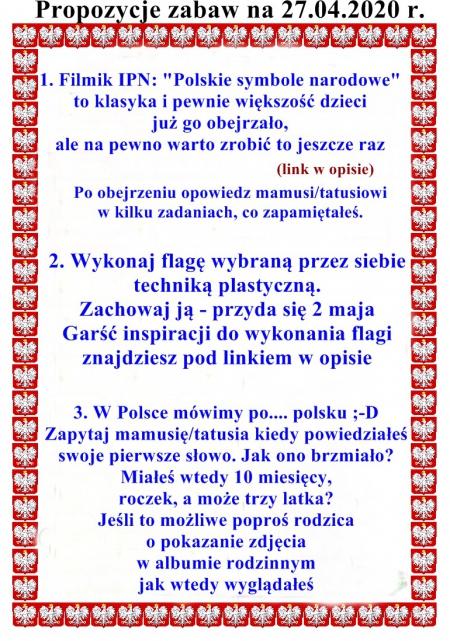POLSKA - moja ojczyzna - 27.04-30.04.2020 r.
